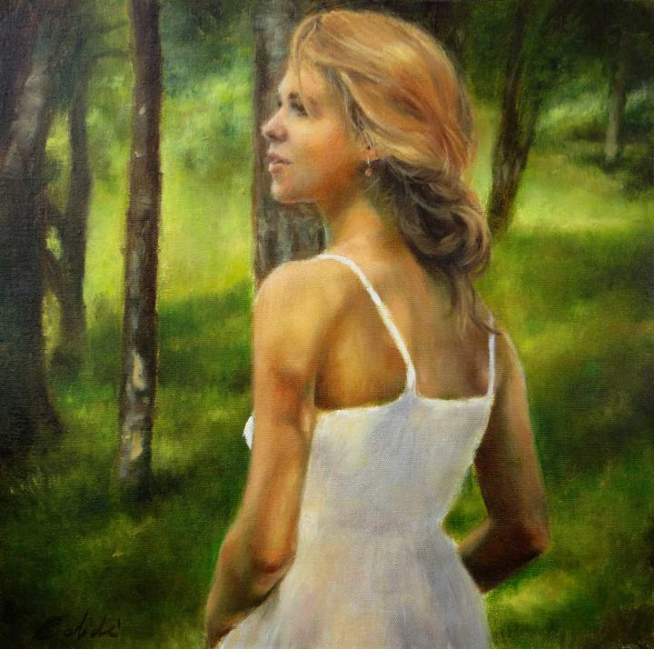 In the woods - Painting,  15.8x15.8x1.6 in, ©2015 by Calidè -                                                                                                                                                                                                                                                                                                                                                                                                                                                                                                                                                                                                                                                                                                                                                                                                                                                                  Figurative, figurative-594, Health & Beauty, Landscape, artwork_cat.Love/Romance, Nature, Women, oil painting, wood, nature, young girl, woman, beauty, landscape, woods, donna, mujer, green