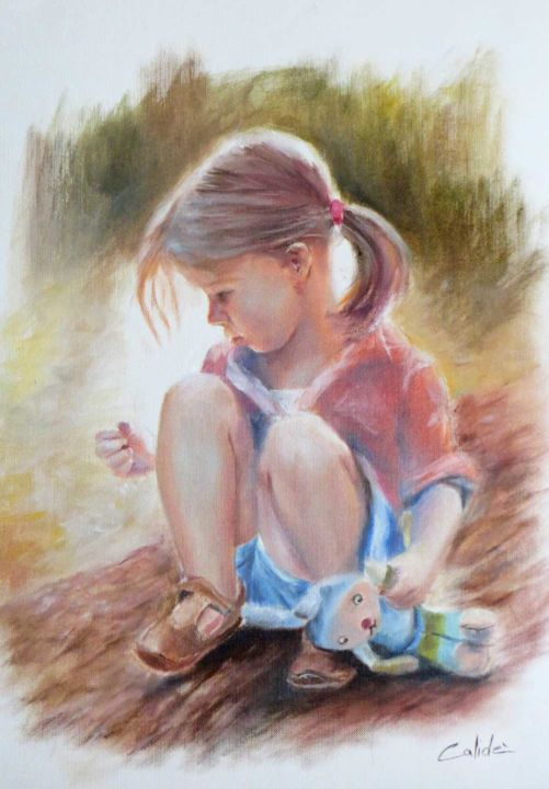 little girl with teddy bear - Painting,  15.8x11.8 in, ©2016 by Calidè -                                                                                                                                                                                                                                                                                                                                                                                                      Figurative, figurative-594, child, little girl, teddy bear, friend, love, children