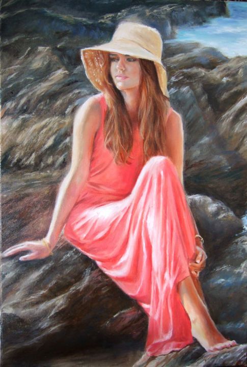 Sunny Day - Painting,  23.6x15.8x0.8 in, ©2015 by Calidè -                                                                                                                                                                                                                                                                                                                                                                                                                                                                                                                                                                                                                                                                                                                                                                                                                                                                                                              Figurative, figurative-594, Women, Water, Seascape, sea, sun, day, woman, red dress, life, beach, sunny, mer, femme, été, soleil, mujer, donna