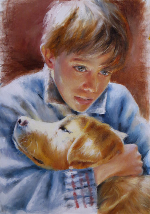 My best friend - Painting,  11.8x7.9 in, ©2016 by Calidè -                                                                                                                                                                                                                                                                                                                                                                                                                                                                                                                                                                                                                                                                                                                                                                          Impressionism, impressionism-603, Children, Animals, artwork_cat.Dogs, Family, artwork_cat.Love/Romance, dogs, friendship, love, dog, children, child, freinds, friend, animal