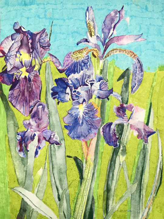 IRISES - Painting,  11.8x8.7x0.4 in, ©2017 by rebecca de figueiredo -                                                                                                                                                                                                                                                                                                                                                                                                                                                      Impressionism, impressionism-603, Flower, FLOWERS, IRISES, NATURE, PAPER, REBECCADEFIGUEIREDO, WATERCOLOUR
