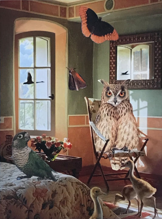 """Collages titled """"Owl's Bedroom"""" by Debra Rogers, Original Art, Collages"""