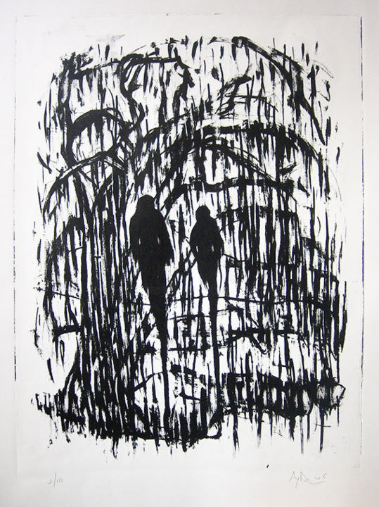 Couple - Printmaking,  37.8x25.2 in ©2006 by Aymeric DECHAMPS -                                            Expressionism, Body, couple, promeneurs, bois, forêt, expressionnisme, lithographie