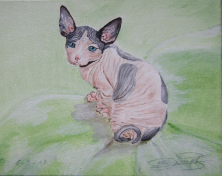 Sphynx -kitten Harlequin Painting by Edmond Dechamps | Artmajeur
