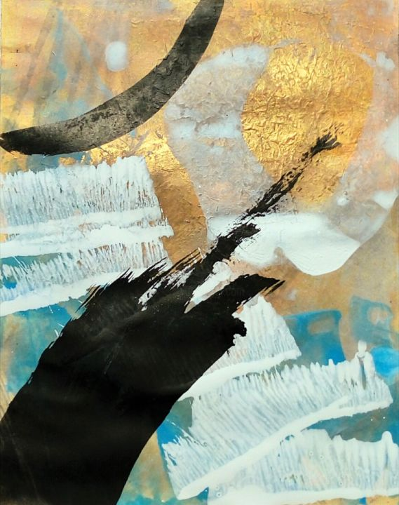 """Painting titled """"gold in-out 3"""" by Monica Di Bartolo, Original Art, Acrylic"""