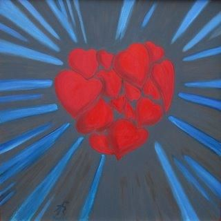Amour rayonnant - Painting,  0.8x31.5x31.5 in, ©2010 by Karel De Gendre -                                                                                                                                                                                                                                                                                                                                                                                                                                                                                                                                          Expressionism, expressionism-591, Amour rayonnant par Karel, coeur, love, red, rouge bleu, blue, rays, dark background, fond sombre