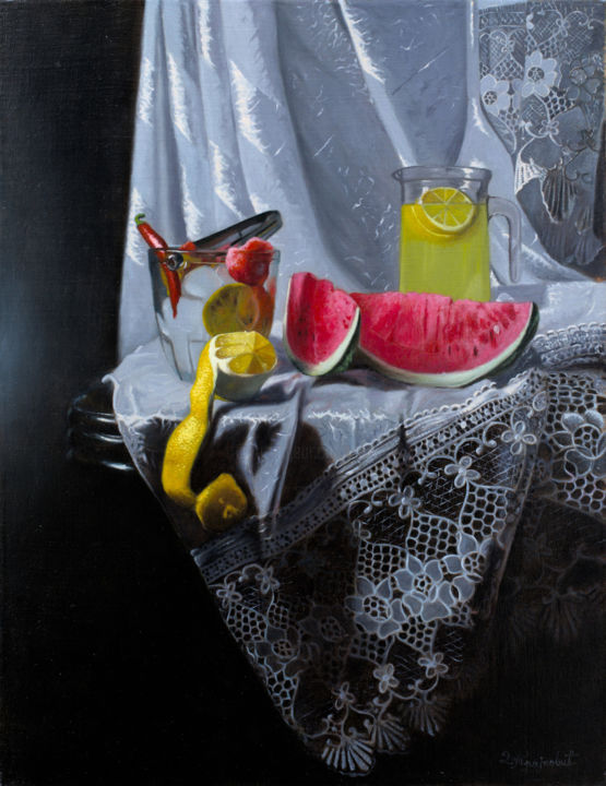 Hot and Cold - Painting,  25.6x19.7x0.8 in, ©2014 by Dejan Trajkovic -                                                                                                                                                                                                                                                                                                                                                                                                                                                                                                                                                                                                                                                                                  Hyperrealism, hyperrealism-612, Still life, still life, classical, realism, photorealism, hyperrealism, watermelon, lemon, lemonade, hot pepper, ice, flemish technique