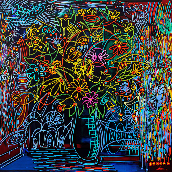 """Painting titled """"the big colored vase"""" by Dek, Original Art, Acrylic Mounted on Wood Panel"""