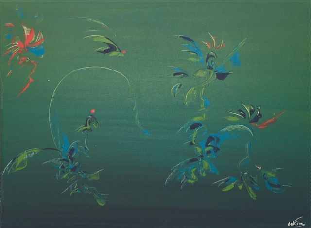 Phoenix - Painting,  23.6x31.5 in, ©2009 by FINE A. DEL -