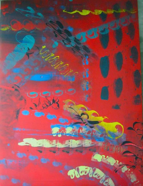 Painting, oil, expressionism, artwork by Fine A. Del