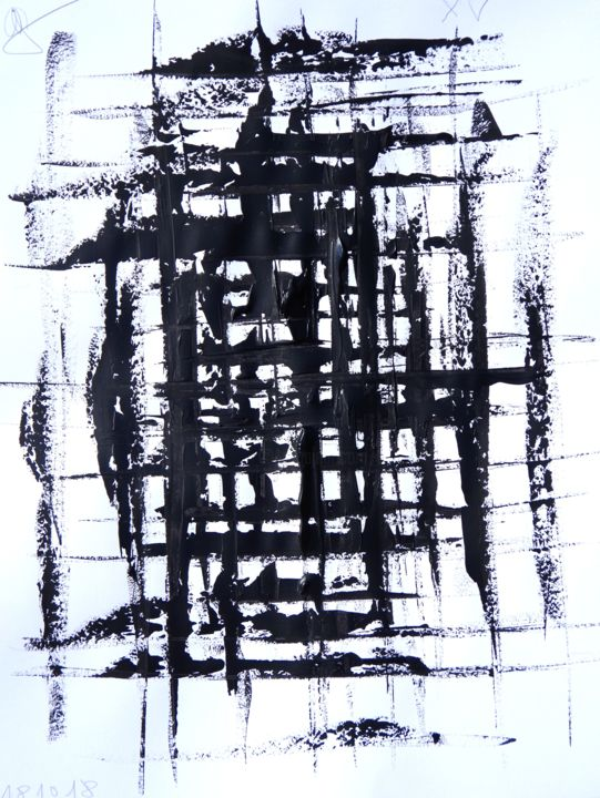 ap18-10-1.jpg - Peinture,  25,6x19,7x0,8 in, ©2018 par Guy Delaroque -                                                                                                                                                                                                                                                                                                                  Abstract, abstract-570, Art abstrait, noir, blanc, papier