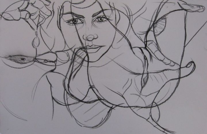 Eve8 - Drawing,  33x50 cm ©2008 by Guy Delaroque -                        Black and White