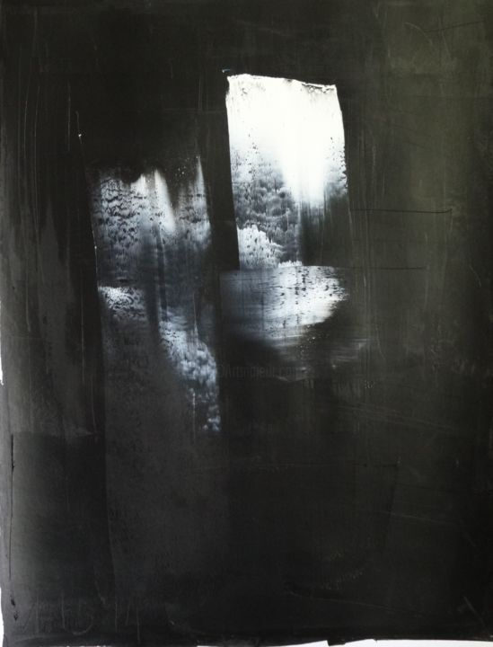 Trace14-1 - Painting,  65x50 cm ©2013 by Guy Delaroque -                                            Abstract Art, Abstract Art, light, shadow, black, white