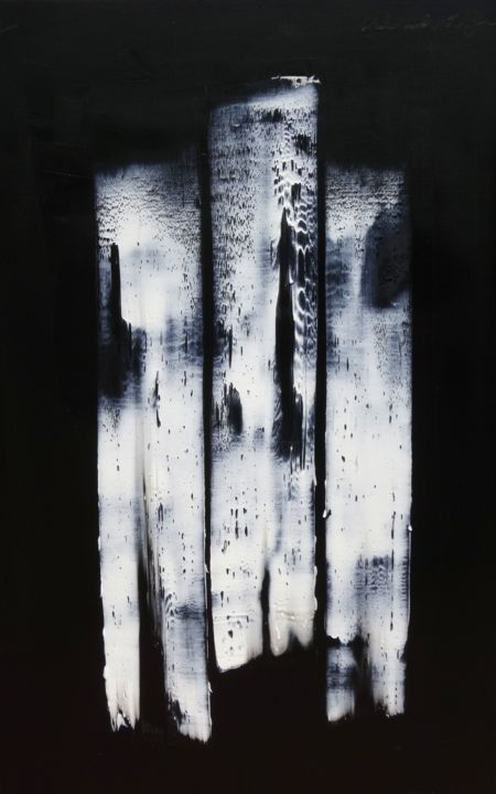 ht-50-14-6-9.jpg - Painting,  45.7x31.9 in, ©2014 by Guy Delaroque -                                                                                                                                                                                                                                                                                                                                                              Abstract, abstract-570, Abstract Art, Art, abstrait, blanc, noir