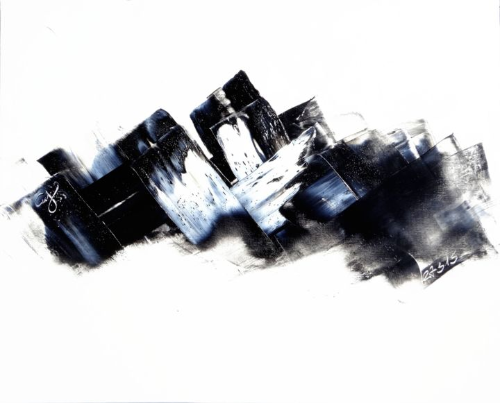ht40-15-3-1.jpg - Painting,  28.7x39.4 in, ©2015 by Guy Delaroque -                                                                                                                                                                                                                                                                                                                                                              Abstract, abstract-570, Abstract Art, blanc, noir, mouvement, art