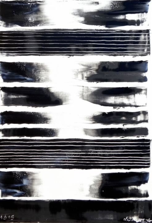 ht50-15-4-2.jpg - Painting,  116x73 cm ©2015 by Guy Delaroque -                                            Abstract Art, Abstract Art, black, white, art