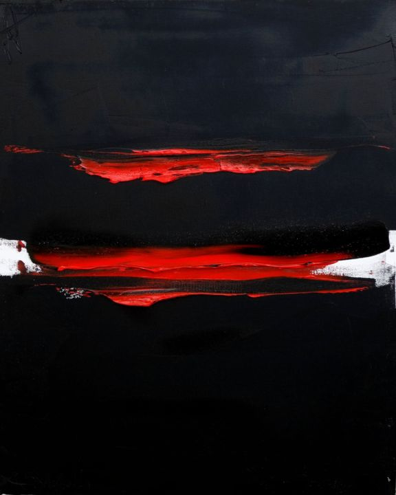 ht12-15-1-2.jpg - Painting,  61x50 cm ©2015 by Guy Delaroque -                                            Abstract Art, Abstract Art, noir, rouge, art