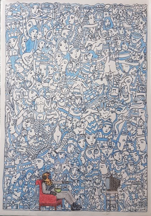 """Drawing titled """"Under the sea"""" by Juan Del Balso, Original Art, Ink"""