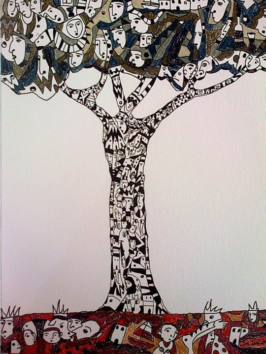 """Drawing titled """"Earth"""" by Juan Del Balso, Original Art, Ink"""