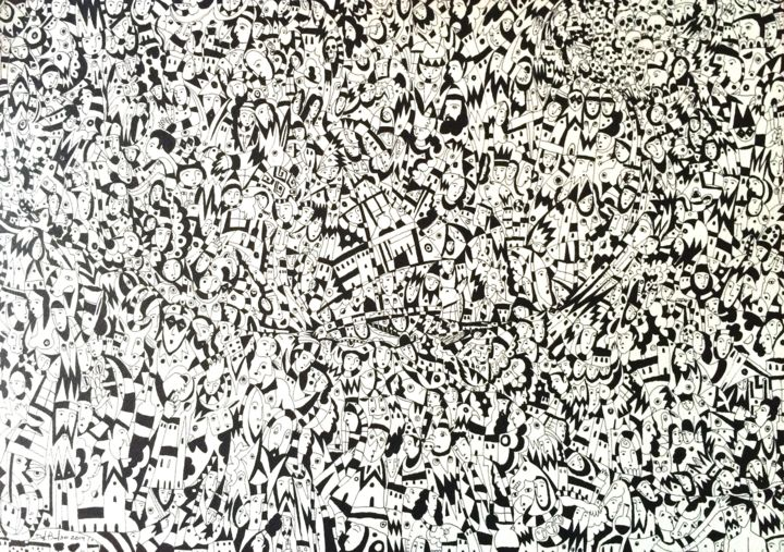"""Drawing titled """"In the Storm"""" by Juan Del Balso, Original Art, Ink"""
