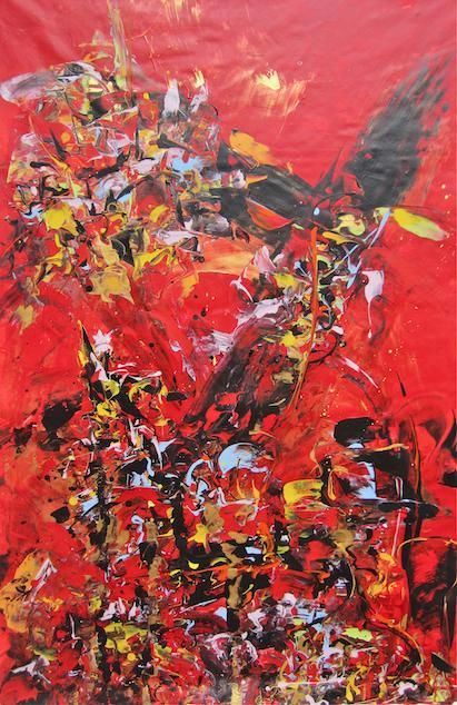 """Painting titled """"Red Tower"""" by Delphine Bernard, Original Art, Oil"""