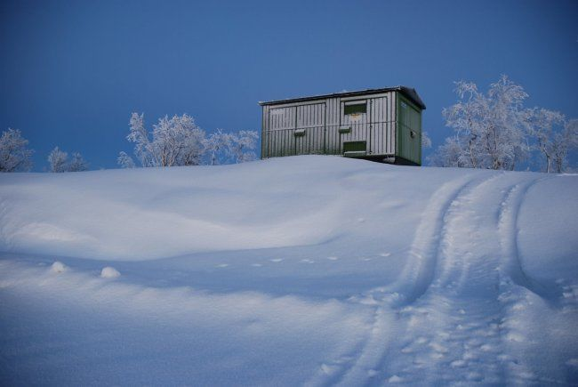 Photography ©2012 by Demain -  Photography, Lapland container on the snowy hill