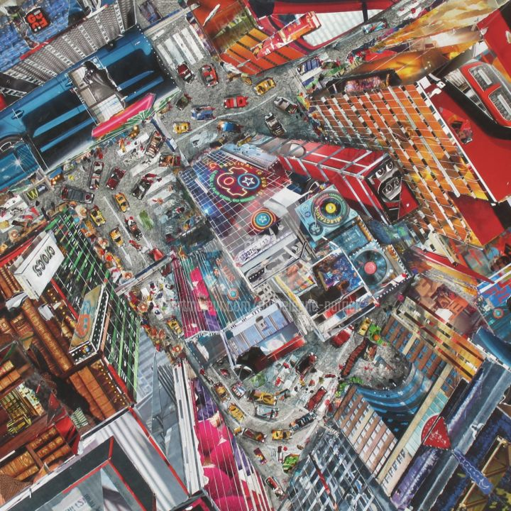 S 494 Vertige - Collages,  19.7x19.7x1.6 in, ©2020 by PATRICK DEMELENNE -                                                                                                                                                                                                                                                                                                                                                                                                                                                                                                                                              Figurative, figurative-594, Architecture, Places, Cityscape, Cities, Travel, Imlaginaire, ville perspective, collage, envol