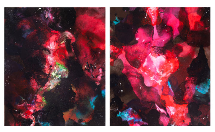 """Painting titled """"Diptych """"Heat"""""""" by Dement.Raa, Original Art, Acrylic"""