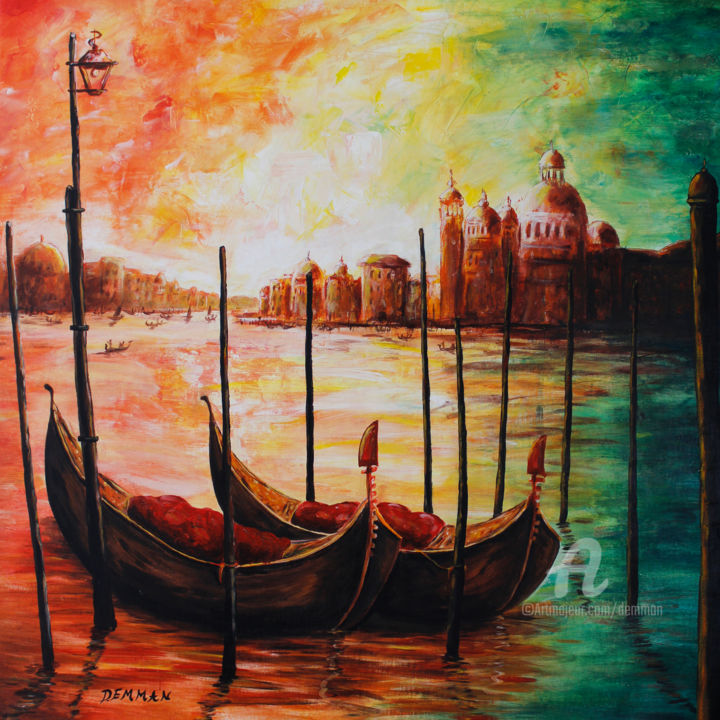 """Painting titled """"SUNSET IN VENICE"""" by Demman, Original Art, Acrylic"""