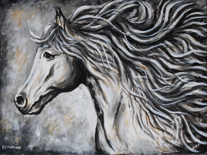 """Painting titled """"WHITE HORSE"""" by Demman, Original Art, Acrylic"""
