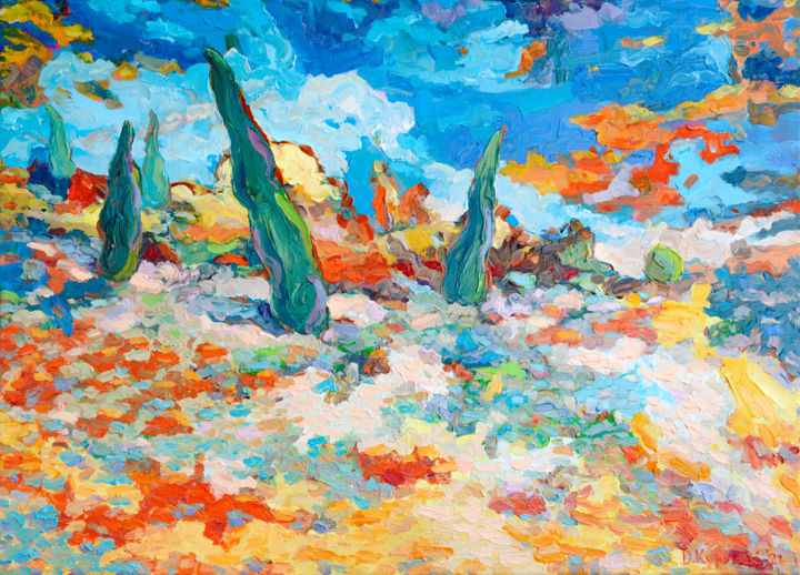"""Painting titled """"Cypresses"""" by Denis Kujundzic, Original Art, Oil Mounted on Stretcher frame"""