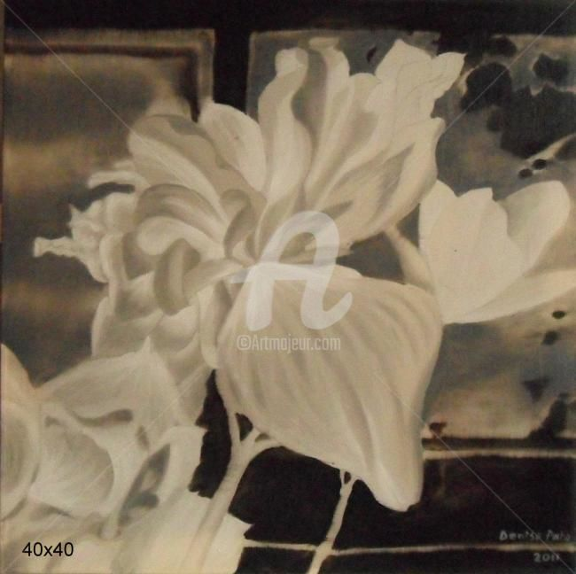 negative flouers - Painting,  30x30 cm ©2012 by Denisa Paho -