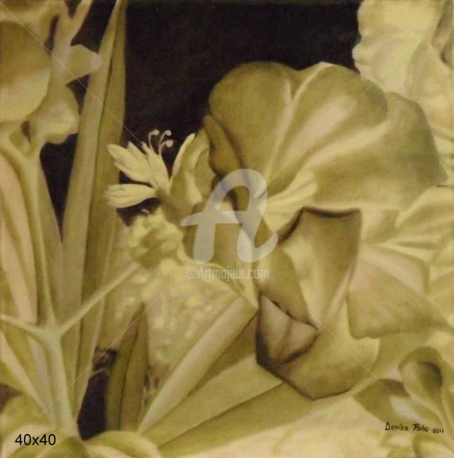 negative flouers - Painting,  11.8x11.8 in, ©2012 by Denisa Paho -