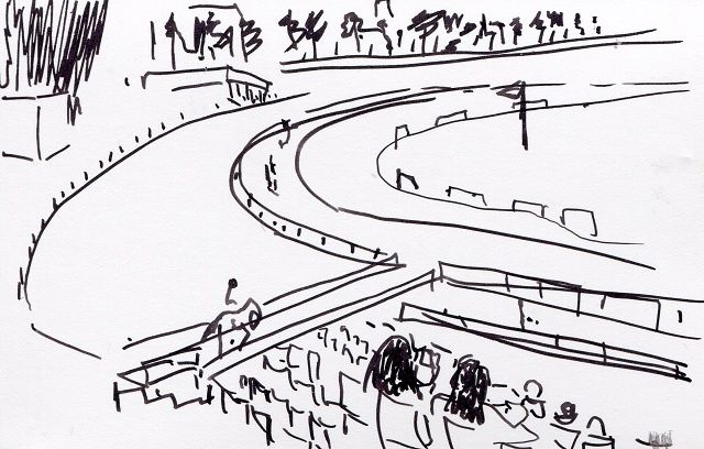 Hippodrome de Deauville, à gauche - Drawing,  10x6 cm ©2009 by Denis Demouge -