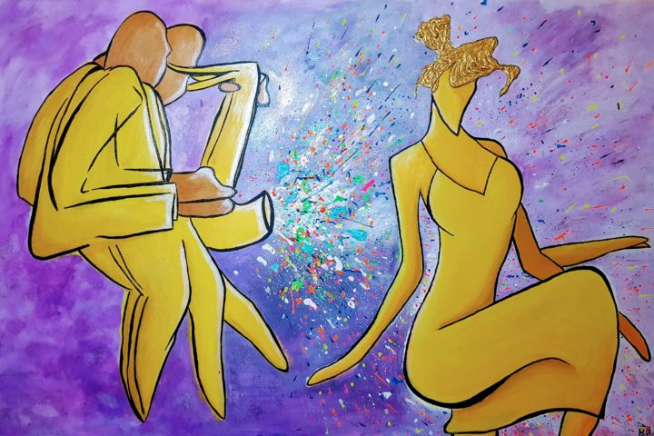 """Painting titled """"""""My Girl In The Yel…"""" by Denise Rubin, Original Art, Acrylic"""