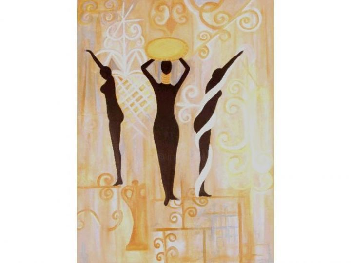Painting,  30 x 40 in ©2004 by Marie Denise Jean Baptiste -  Painting, black gold silver dance goddess