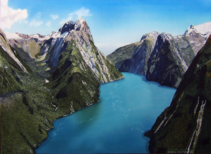 Above Milford Sound - Painting,  76x106 cm ©2017 by Dennis Greenwood -                                                                                            Realism, Paper, Landscape, Mountainscape, Nature, Seascape