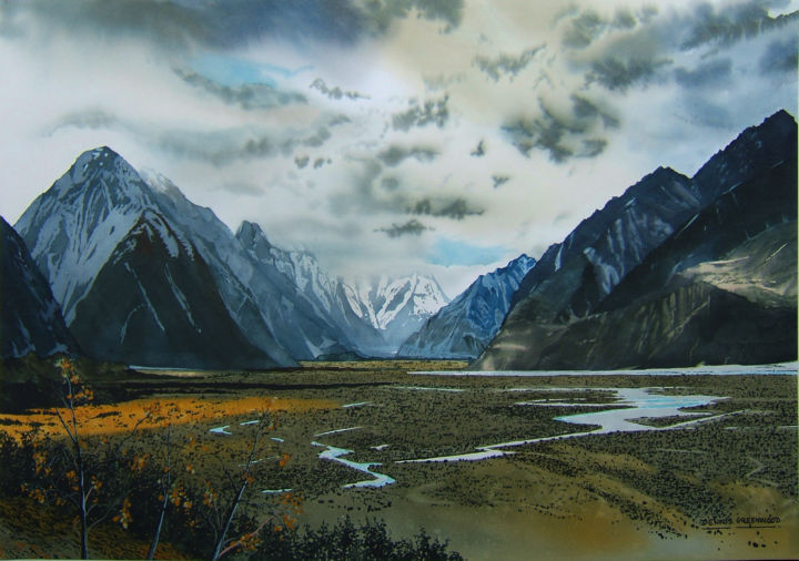 Fiordland - Painting,  76x105 cm ©2018 by Dennis Greenwood -                                                                                Realism, Paper, Landscape, Mountainscape, Nature