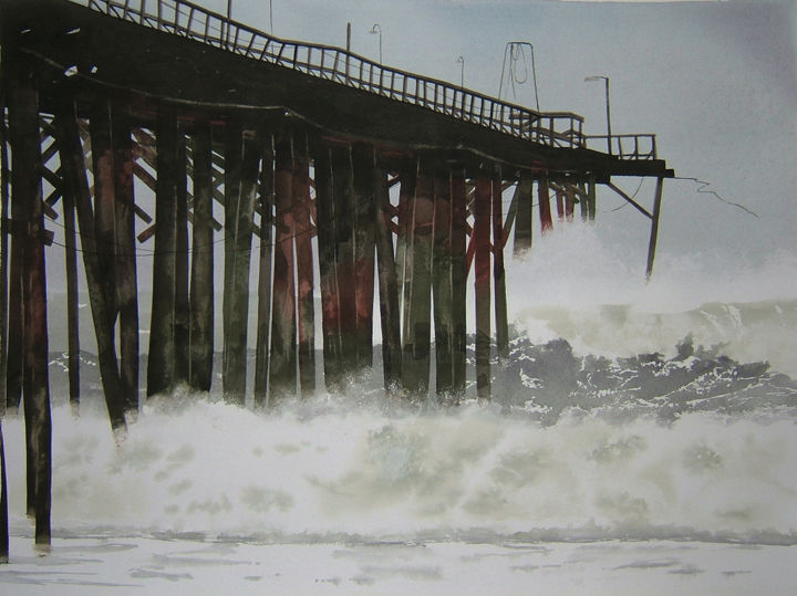 """Painting titled """"big swell, incoming…"""" by Dennis Greenwood, Original Art, Watercolor"""