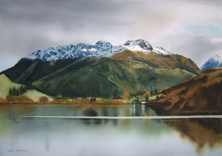 Lake Hayes - Painting,  76x105x0 cm ©2017 by Dennis Greenwood -                                                                                            Realism, Paper, Landscape, Mountainscape, Nature, Water