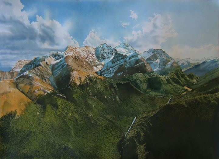 towards Milford Sound - Painting,  76x105x0 cm ©2017 by Dennis Greenwood -                                                                                Realism, Paper, Landscape, Mountainscape, Nature