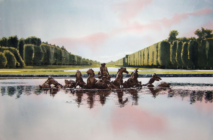 Versailles - Painting,  70x104x0 cm ©2017 by Dennis Greenwood -                                                            Realism, Paper, Landscape, garden, nature, architecture, fountain