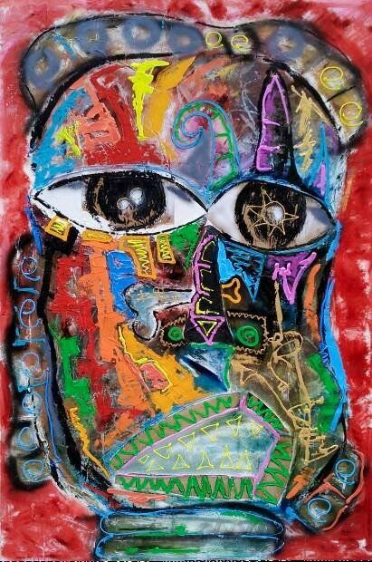 """Painting titled """"African Serie"""" by Dennys Santos, Original Art, Acrylic"""
