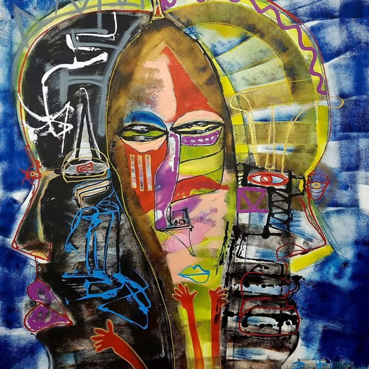 """Painting titled """"African linage"""" by Dennys Santos, Original Art, Acrylic"""
