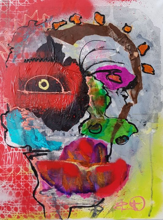 """Painting titled """"n.t"""" by Dennys Santos, Original Art, Collages"""