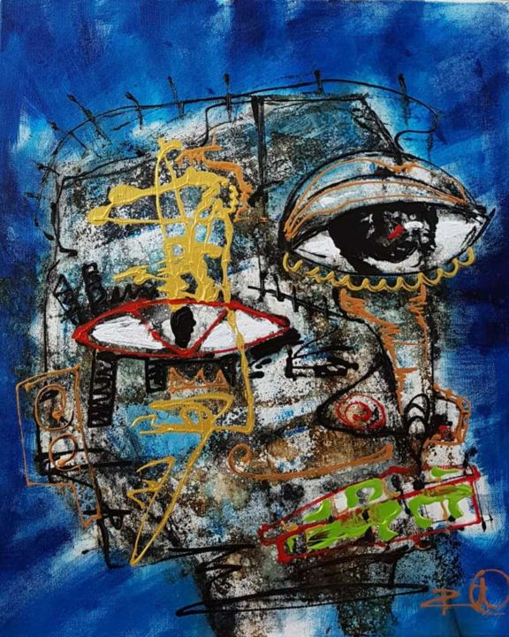 """Painting titled """"face in blue backgr…"""" by Dennys Santos, Original Art, Acrylic"""