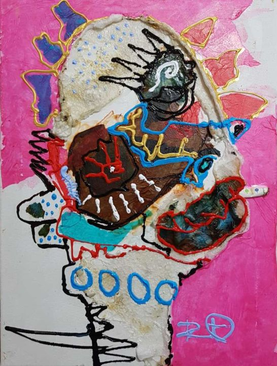 """Painting titled """"smoker"""" by Dennys Santos, Original Art, Collages"""
