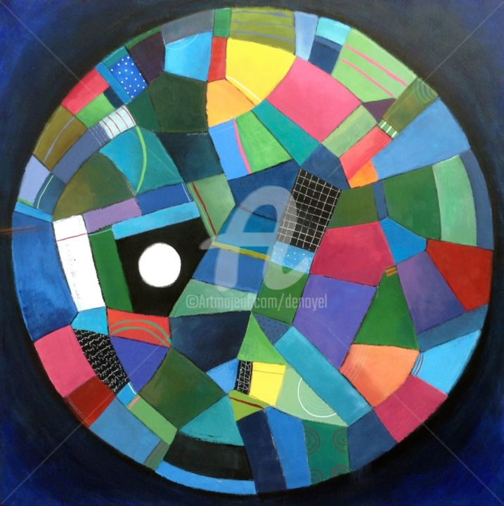 Eclipse - Painting,  100x100 cm ©2017 by Denoyel -                        Contemporary painting