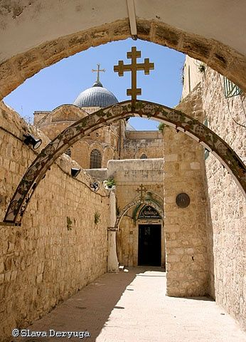 Church of the Holy Sepulchre - Photography,  16.5x12 in ©2005 by Slava Deryuga -            Jerusalem Christianity East Eastern Holy Christ Israel architecture cross church middle vertical spiritual