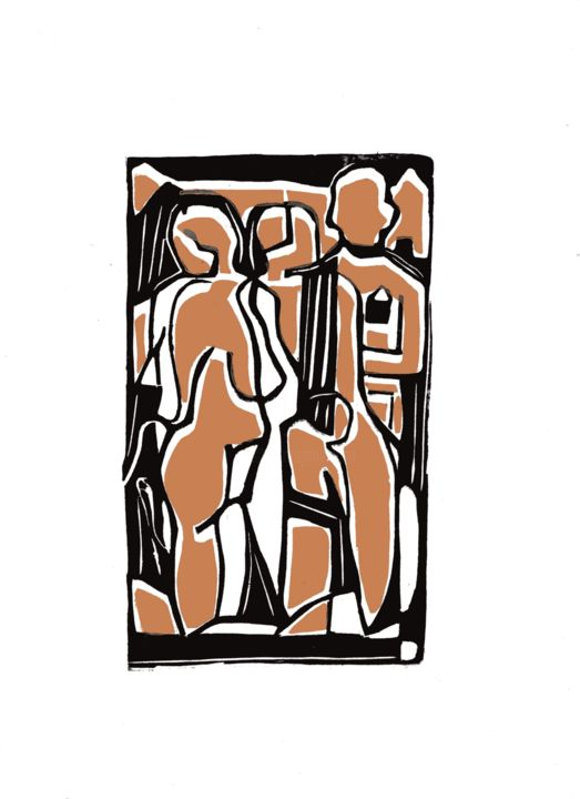 personnages - Printmaking,  8.3x4.9 in, ©2016 by Jean Marie Deschamp -                                                                                                                                                                                                                          Expressionism, expressionism-591, People, personnages